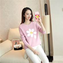 Autumn and Winter Female Pullovers, Embroidered Knitted Sweaters, Loose Round Neck Flower Pullovers women sweater