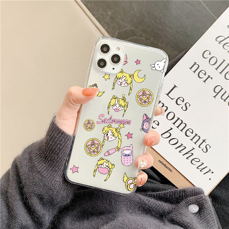 Cute Sailor Moon Phone Case For Samsung S20 Ultra S10 S8 S9 plus S10e a50 a30 a80 a70 a90 Note 8 9 10 plus Clear Soft Back Cover