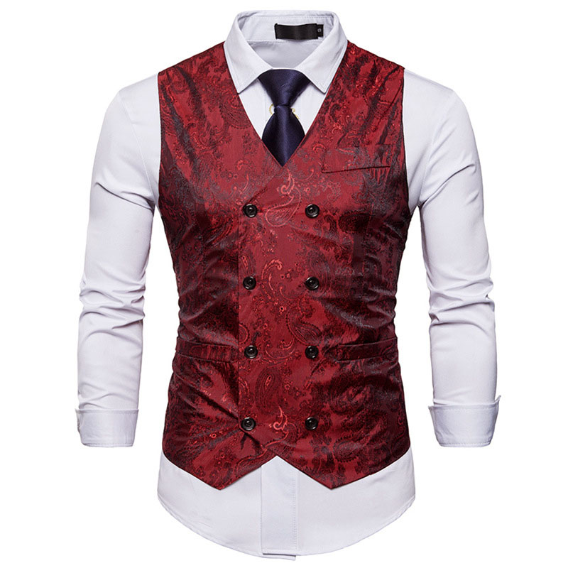 Red Paisley Vest Men 2020 Brand New Slim Fit Double Breasted Mens Vest Formal Business Sleeveless Waistcoat Men Chaleco Hombre