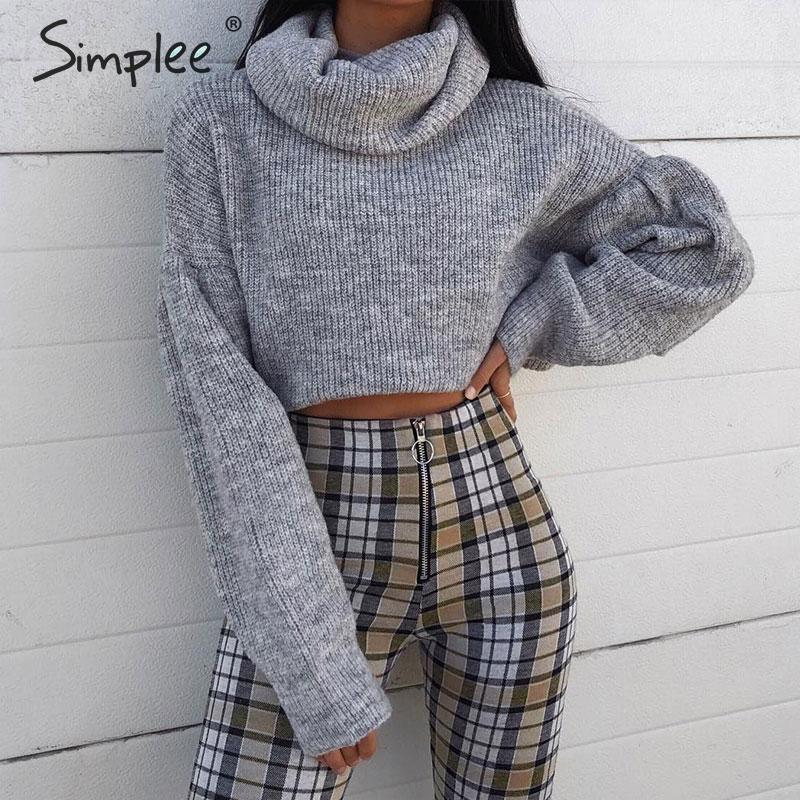 Simplee Knitted Turtleneck Short Sweater Women Autumn Long Sleeve Crop Sweater Jumper Winter Female Pull Knitwear Pullover 2019