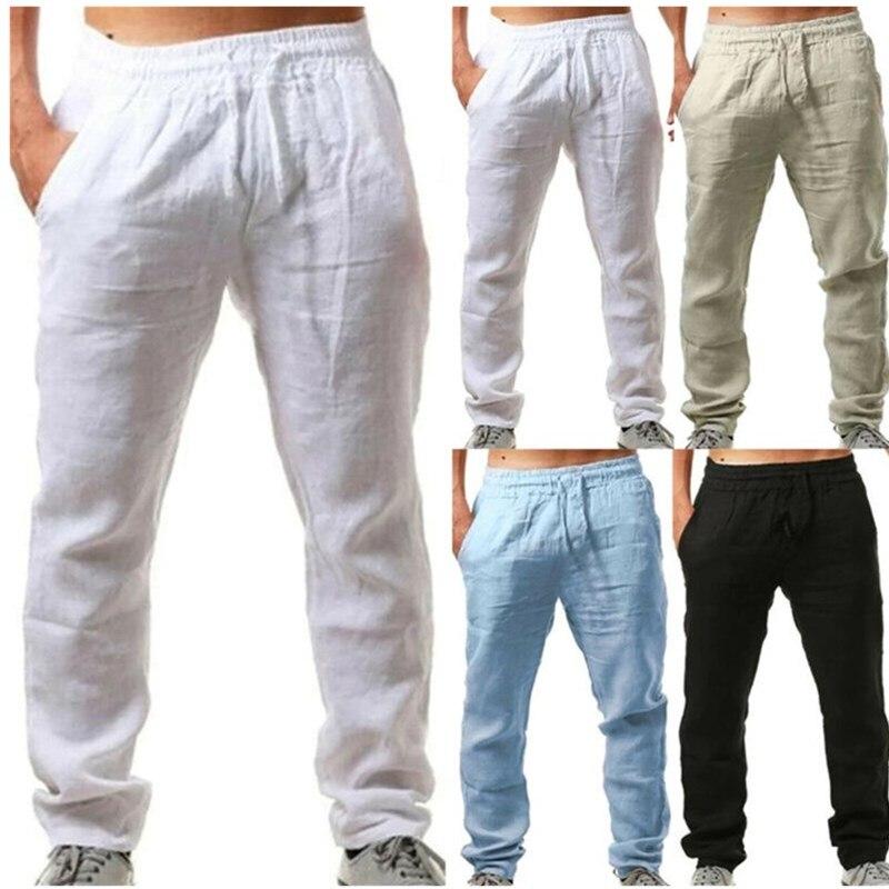 Männer Baumwolle Leinen Hose Einfarbig Elastische Taille Lose Lange Hosen Frühling Sommer herren Atmungsaktive Ultra-dünne Kleine casual p