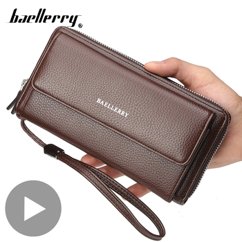 цена на Long Zipper Big Card Coin Holder for Men Wallet Male Purse Phone Money Clutch Bag Partmone Walet Vallet Brieftasche Portemonee