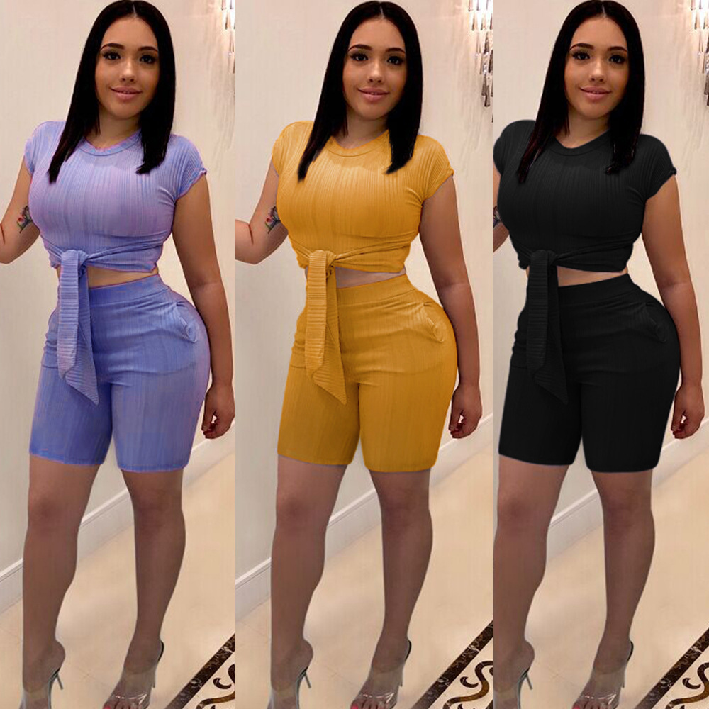HAOYUAN 2 Piece Set Summer Clothes For Women Bandage Crop Top And Biker Shorts Sweat Suit Sexy Two Piece Outfits Matching Sets