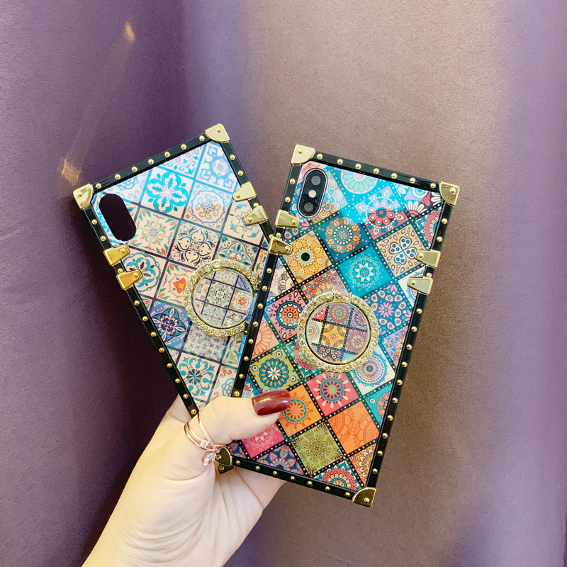 Case For iPhone Xr Xs Max Cover Blue Ray Square Rivet Chinese Style Girly Shiny Ring Stand Case For iPhone X Xs 7 8 Plus 6S Case (3)