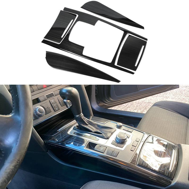 Car Multimedia Handrest Gear Panel Decoration Covers Stickers Gears Trim For- A6 C5 C6 Interior Auto Accessories