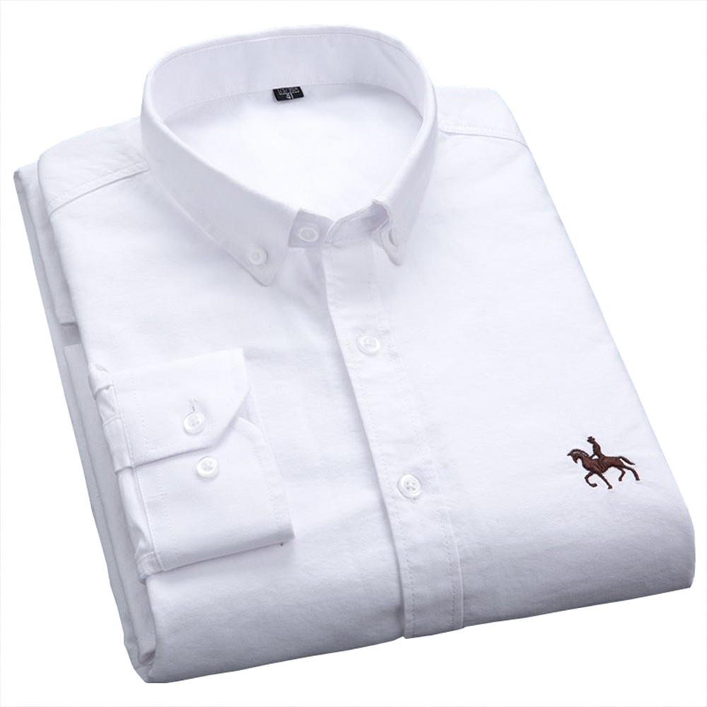 Casual Oxford Mens Dress Shirts White Long Sleeve Embroidery Regular Fit Soft Comfortable Pure Cotton Men's Shirt