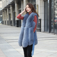 2019 new real natural fur fox vest women's long section waist tie slim fashion vest