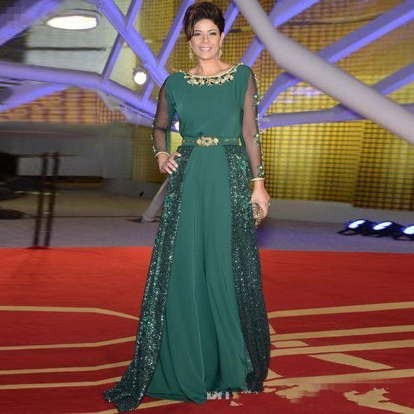 Green 2019 Mother Of The Bride Dresses A-line Long Sleeves Chiffon Sequins Beaded Long Groom Mother Dresses For Weddings