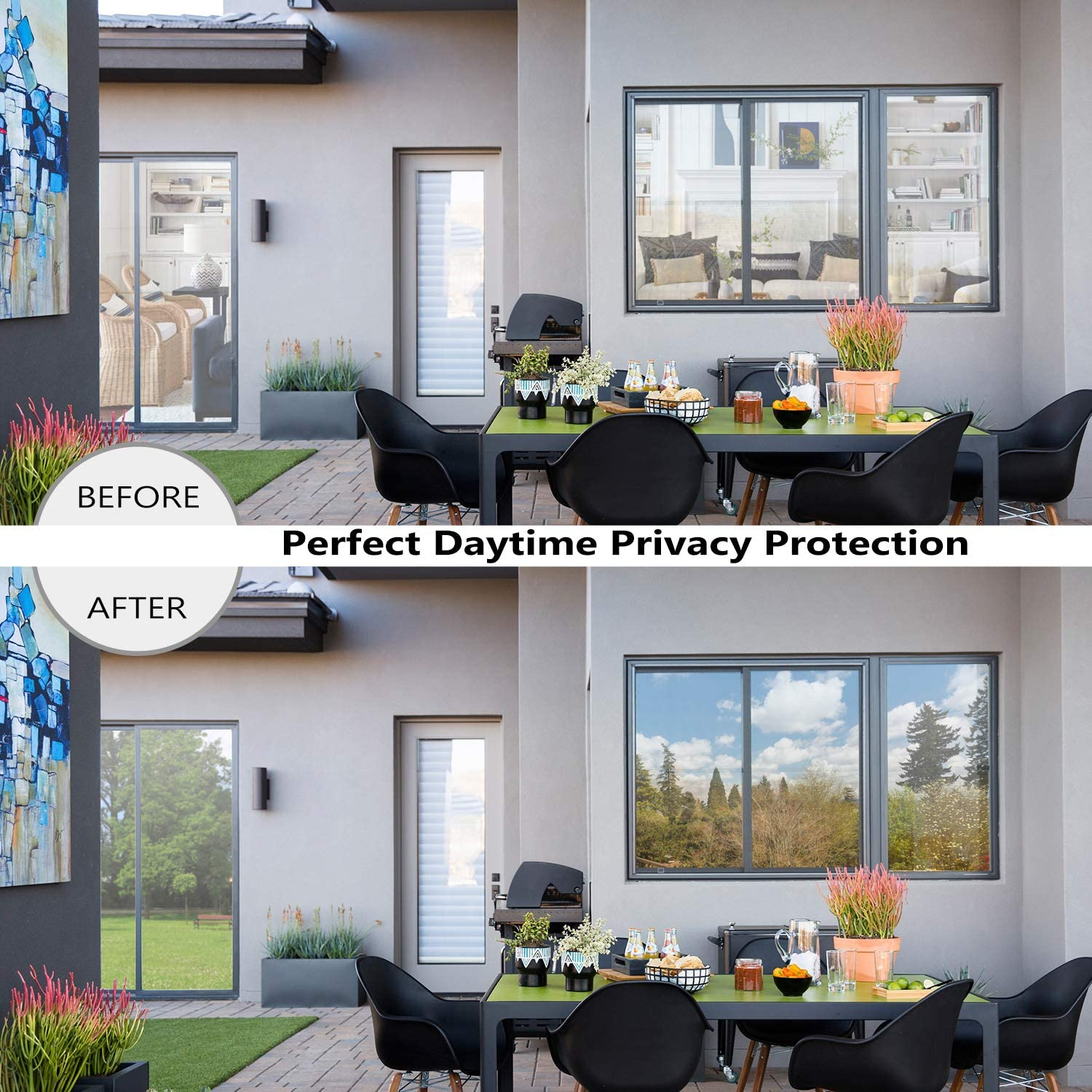 One Way Daytime Privacy Window Tint Self Adhesive Solar Film Anti UV Heat Rejection Green-Silver Mirror Window Film for Home 5