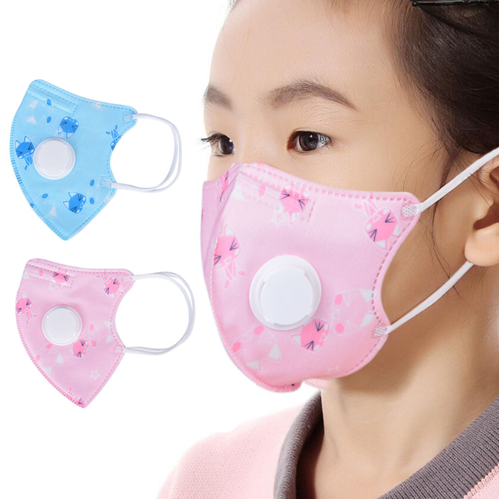 2PCs KN95 Children Valved Face Mask Reusable Anti Pollution Dustproof Mouth Muffle Adult Kids Protective Equipment