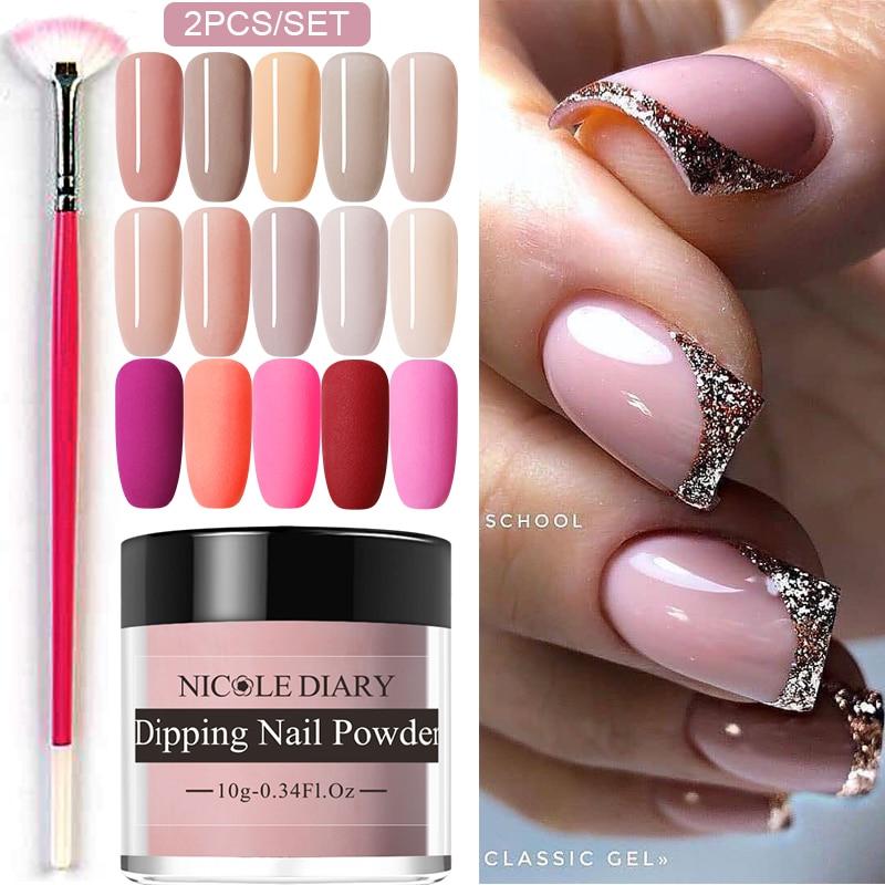 NICOLE DIARY 2PCS Dip Nail Power Set Nude Series Dipping Nail Glitter Colorful Matte Nail Chrome Dust Pigment Dip Base Top Coat