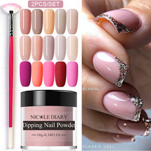 NICOLE DIARY 2PCS Dip Nail Power Set Nude Series Dipping Nail Glitter Colorful Matte Nail Chrome Dust Pigment Dip Base Top Coat(China)