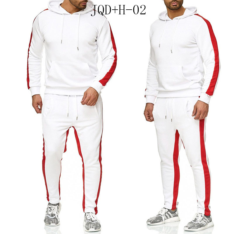 JQD+H-02 Brand Clothing Men's Fashion Patchwork Tracksuit Casual Sportsuit Men Hoodies Sweatshirts Sportswear Coat+Pant Men Set