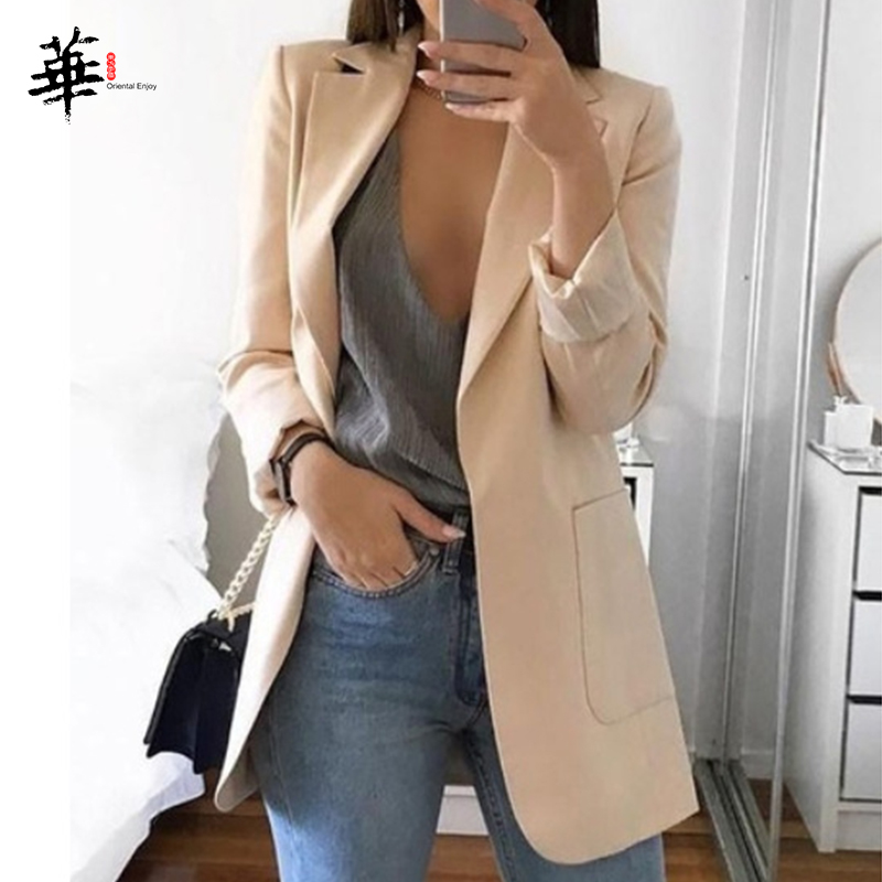 Plus Size 5XL New Minimalist Women Elegant Cardigan Blazer Long Sleeve Work OL Slim Casual Thin Ladies Outwear Blazers Female
