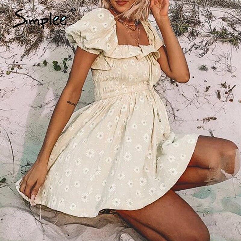 Simplee Floral Print Women Dress Summer Off Shoulder Ruched Ruffled Dress Streetwear Beach A Line Ladies Party Dress Vestidos