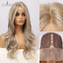 EASIHAIR luz mixta marrón largo cuerpo onda de encaje frente Peluca de pelo Natural encaje sintético pelucas para mujeres de alta densidad resistente al calor