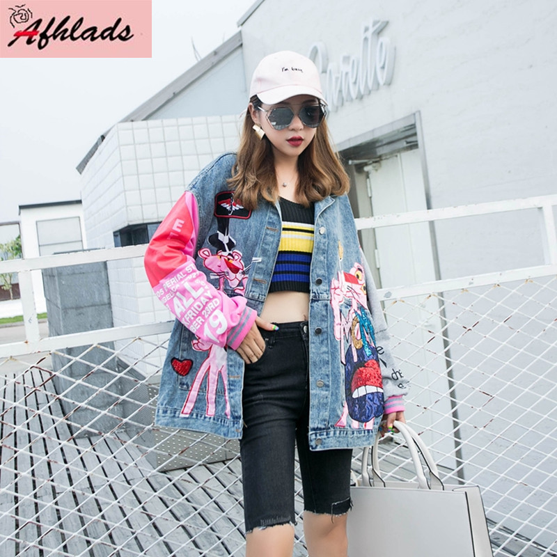 2020 Spring and Autumn Cartoon Denim Jacket Women's New Korean Loose Sequin Patchwork Fashion Cardigan Jacket Outerwear