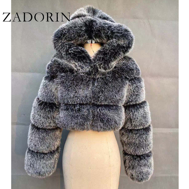 ZADORIN High Quality Furry Cropped Faux Fur Coats and Jackets Women Fluffy Top Coat with Hooded Winter Fur Jacket manteau femme 1