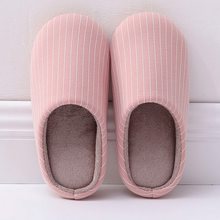 WENYUJH 2019 New Women Slippers Fashion Striped Soft Bottom Home Slippers Slip On Woman Indoor Floor Cotton Warm Shoes(China)