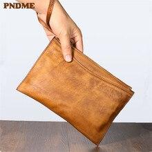 PNDME retro first layer cowhide men's clutch bag simple fashion genuine leather women's large capacity envelope bag phone wallet