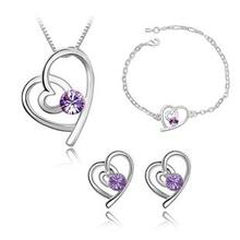 Light Purple Natural Crystal Jewelry Set Necklace Earring Bracelet, Real 925 Sterling Silver Lady Engaged Bride Christmas Gift(China)
