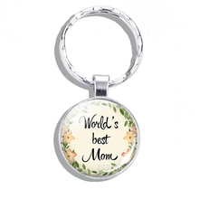 Worlds Best Mom Mothers Day Jewelry Gift for Glass Cabochon Metal Keychain Keyring