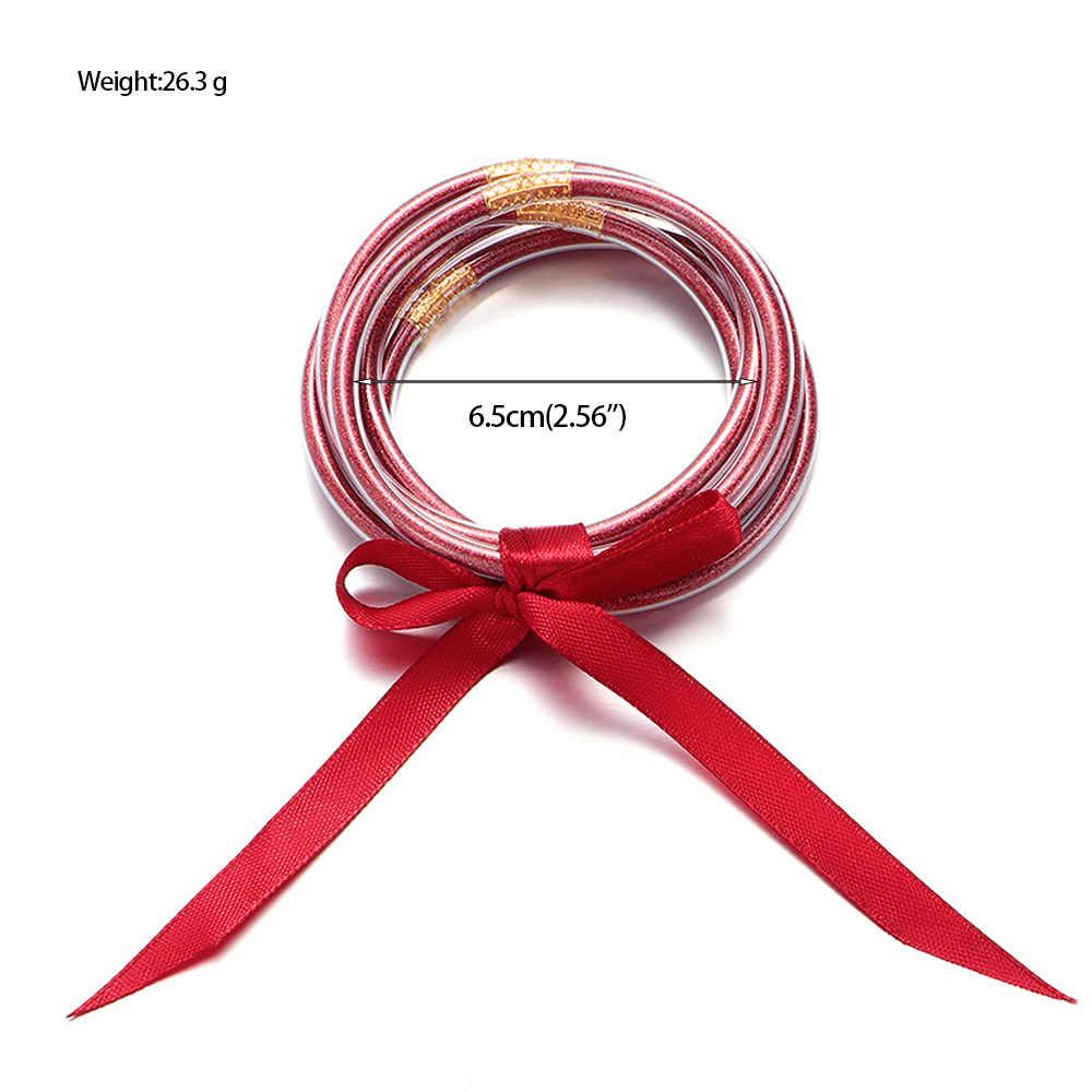5 unids/set nuevo Bowknot oro plata brillo brazaletes Set todo el tiempo pila silicona pulseras plástico brillante Festival joyería