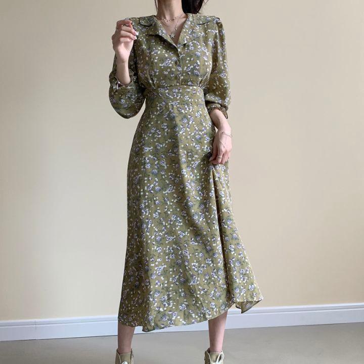 Hc09fdc0c6a7f4c388c3003ebf5a4b832p - Autumn Revers Collar Long Sleeves Floral Print Midi Dress