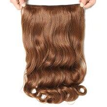 SAMBRAID, 24 дюйма, длинные волнистые волосы на заколках, синтетические волосы для наращивания для женщин, Термостойкое волокно, 4 зажима, одна штука, 17 цветов