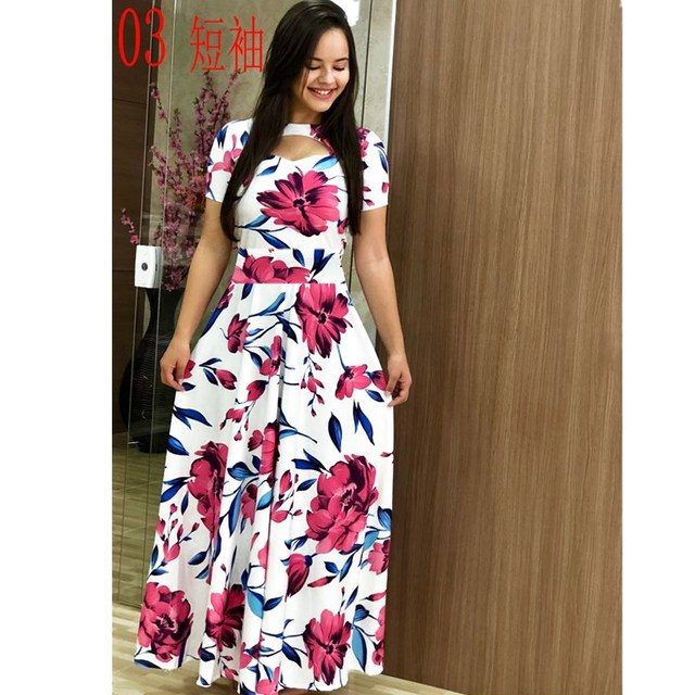 Elegant Spring Autumn Women Dress Casual Bohmia Flower Print Maxi Dresses Fashion Hollow Out Tunic Vestidos Dress Plus Size 4