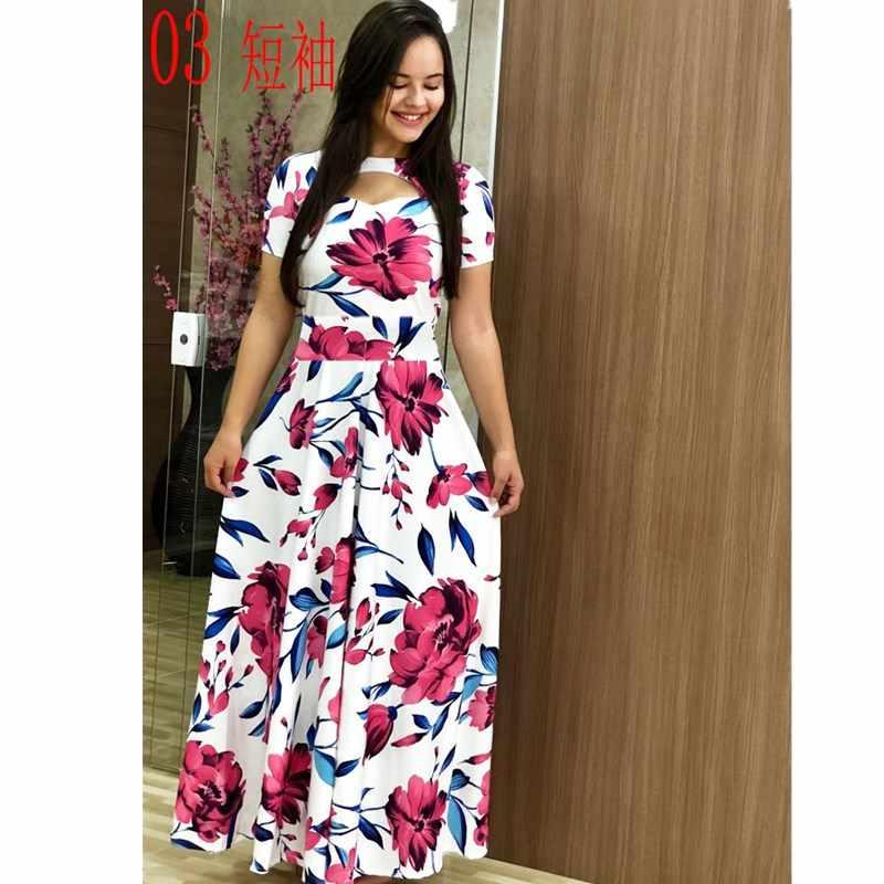 Elegante primavera outono vestido feminino 2019 casual bohmia flor impressão maxi vestidos moda oco para fora túnica vestidos vestido plus size