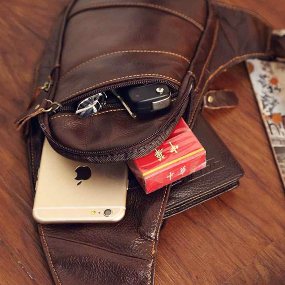 Vintage Asli Kulit Dada Tas Selempang untuk Pria Crossbody Bahu Hari Pack Perjalanan Berkemah Taktis Outdoor Daypack