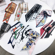 2020 Beautiful Print Women Silk Scarf Narrow Long Wrist Small Ribbon DIY Print Small Scarf Women Ribbon Handle Bag Accessories