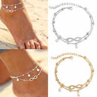 Tobilleras simples de Color plateado para mujer, tobilleras bohemias para playa, tobilleras de ganchillo, sandalias, borla de cadena de pie dorada, decoraciones de cadena de pierna