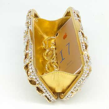 Boutique De FGG Elegant Flower Women Crystal Evening Clutch Bags Metal Box Minaudiere Wedding Purses Bridal Handbags