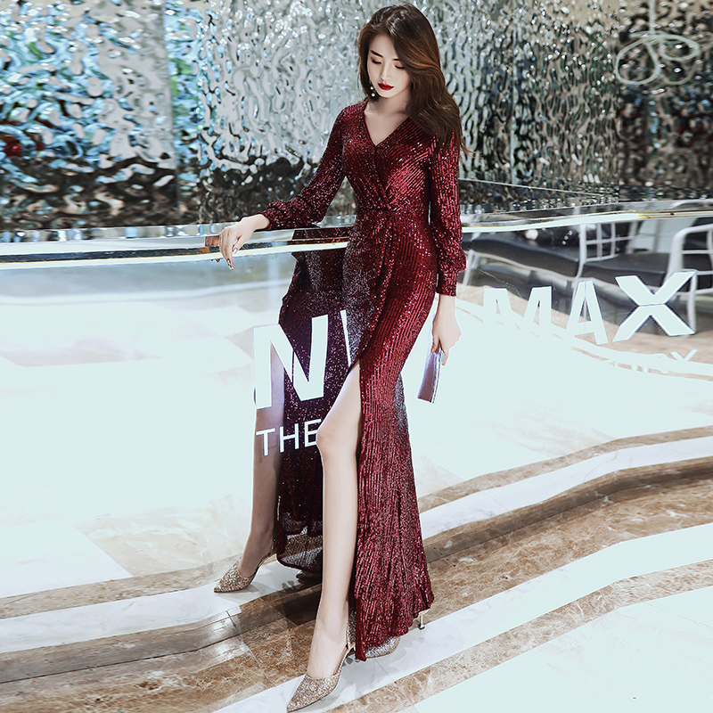 It's Yiiya Evening Dress For Women Silver Shining robe de soiree Elegant Split Full Sleeve Gowns Mermaid Long Evening Dress K062