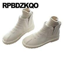 Corto 2019 vintage otoño barato zapatos de punta redonda slip on otoño marrón mujer botas de invierno impermeables mujeres botines beige negro plana