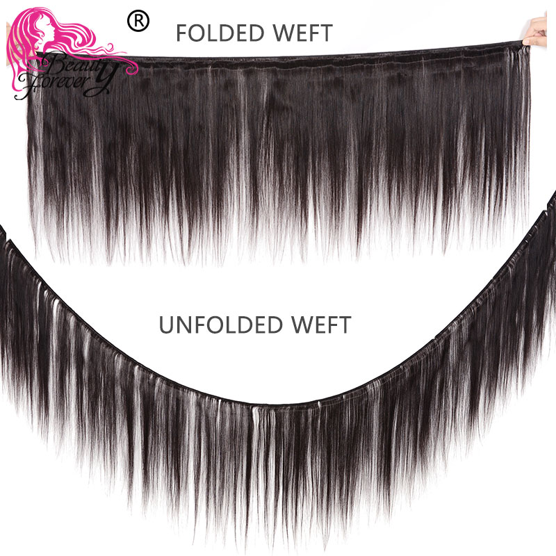 Beauty Forever Brazilian Straight Human Hair Bundles With Closure 4*4 Free/Middle/Three Part Natural Color Remy Hair Extension