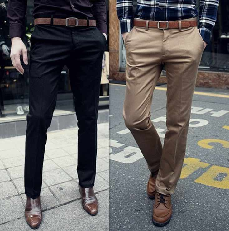 Superior Quality New Arrival Fashion Men Pants Casual Slim Fit Pants Mens Korean Stylish Solid Pants Flat Front Slacks Trousers
