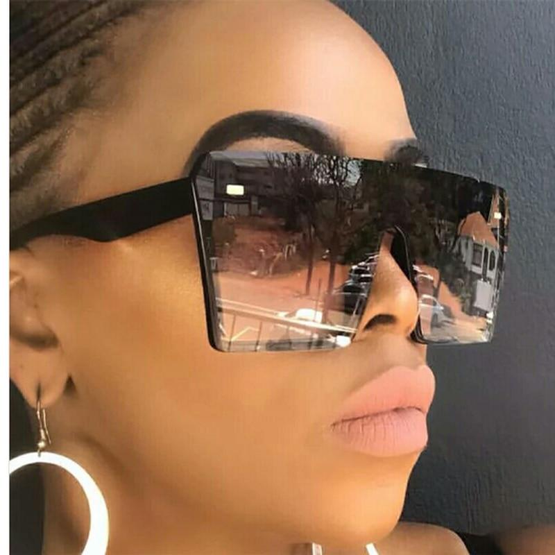 Oversized Square Sunglasses Women 2020 Luxury Brand Fashion Sun Glasses Flat Top Clear Lens One Piece  Shade Mirror UV400