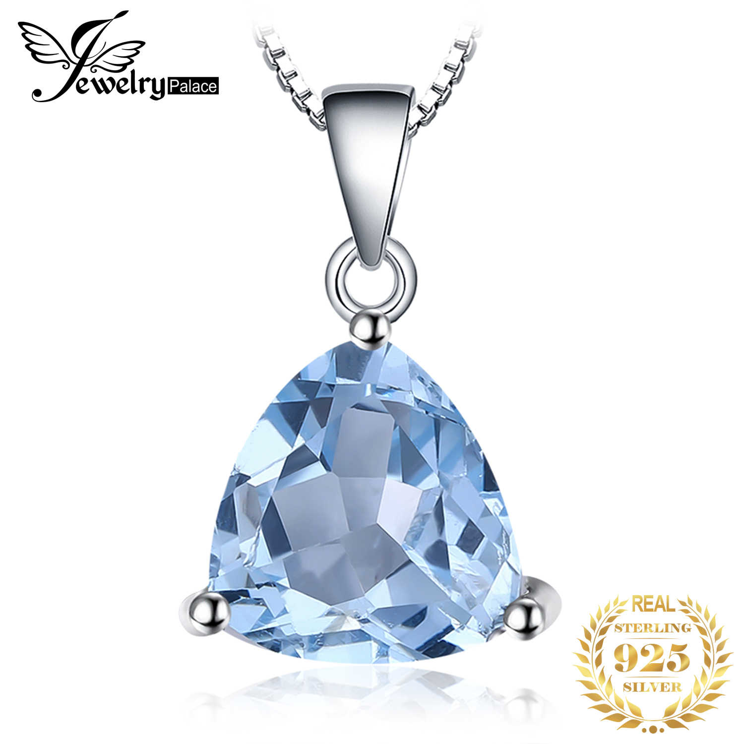 JewelryPalace Natural Blue Topaz Pendant Necklace 925 Sterling Silver Gemstones Choker Statement Necklace Women Without Chain