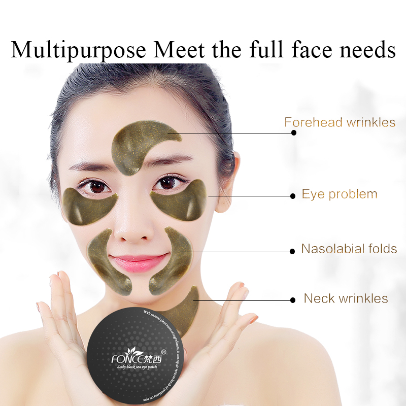 Fonce Black Tea Collagen Crystal Eye Mask 60pcs Natural Remover Dark Circles Anti Age Sleep Mask Bags Under The Eye Eye Patches 3