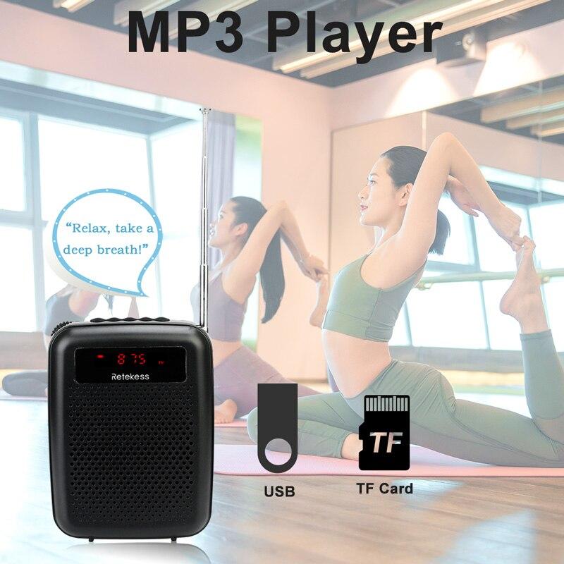 lowest price RETEKESS PR16R Megaphone Portable 12W FM Recording Voice Amplifier Teacher Microphone Speaker With Mp3 Player FM Radio Recorder