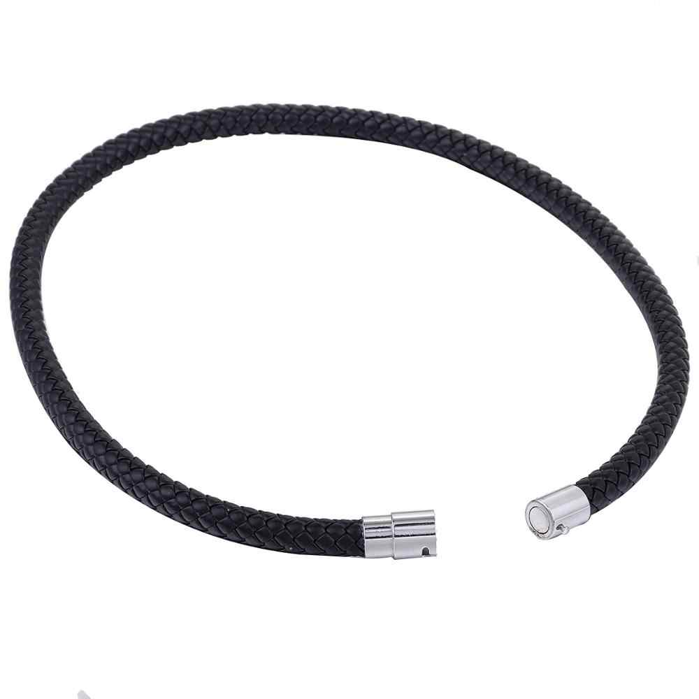 Cienkie, brązowy, czarny pleciony sznur liny człowiek wykonane ze skóry naszyjnik dla mężczyzn choker srebrny Tone zapięcie ze stali nierdzewnej 4/6/8mm LUNM09