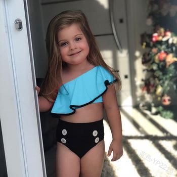 2pcs Kids Baby Girls Off-shoulder Bow Bikini Set Summer Childrens Swimwear Solid Beach Swimming Costume Clothing