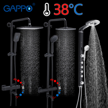 GAPPO Black Bathroom Shower Set Thermostatic Faucet Shower System Wall Mounted Black Faucet Bath Mixer Tap Rain Shower Set Panel цена 2017
