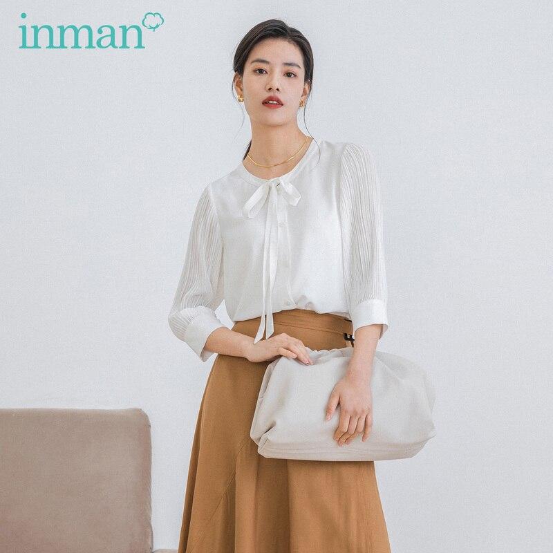 INMAN, весна 2020, Новое поступление, Офисная Изящная блузка с рукавом три четверти и галстуком-бабочкой