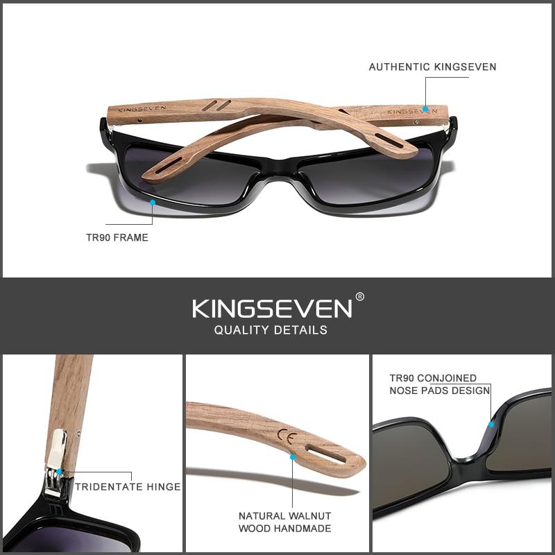 KINGSEVEN Brand Design TR90+Walnut Wood Handmade Sunglasses Men Polarized Eyewear Accessories Sun Glasses Reinforced Hinge 3