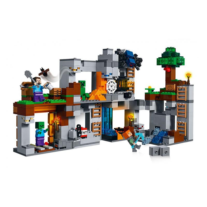2019 New Assembled Building Blocks Compatible with Legoing Minecrafting 21147 Rock Low Adventure Minecraft  toys for children