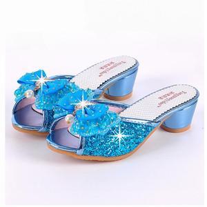 Image 2 - Mädchen Sommer Sandalen Slipper Pailletten Princesse Kinder High Heel Kleid Schuhe Leder Slipper Für Kinder Rutschen